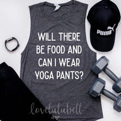 Will there be food and can I wear yoga pants? | Muscle Tee