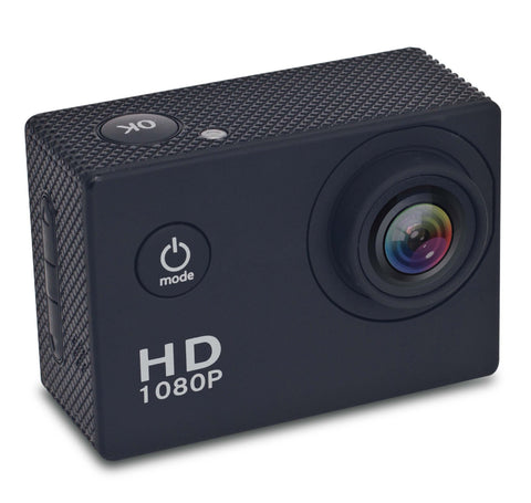 1080P HD ACTION SPORTS CAMERA WITH 8GB SD, WATERPROOF CASE AND HARDWARE ACCESSORIES