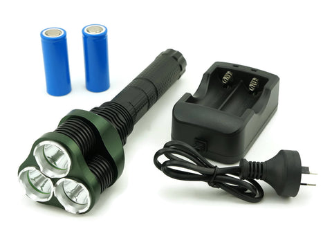 RECHARGEABLE HIGH POWER 1500 LUMENS 3 X CREE XML LED TORCH