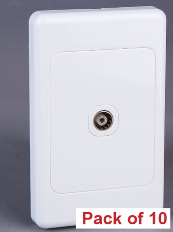 10 X WALL PLATE WITH PAL TV SOCKET