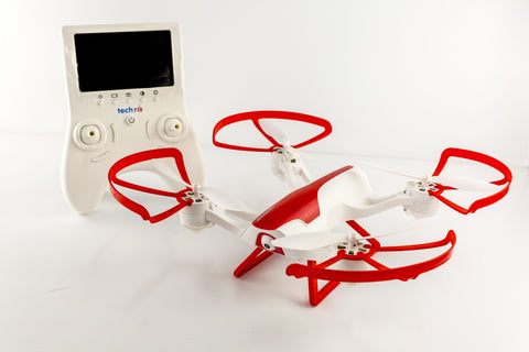 RC FPV DRONE WITH 720P CAMERA AND ONE BUTTON TAKE OFF AND LANDING GTENG T905F - WHITE AND RED