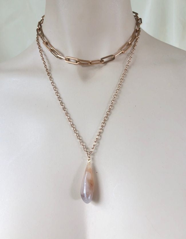 Rose Gold Resin Necklace