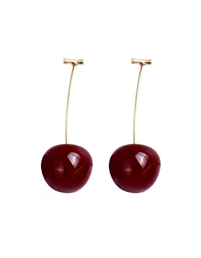 Cheerful Dark Red Cherry Earrings