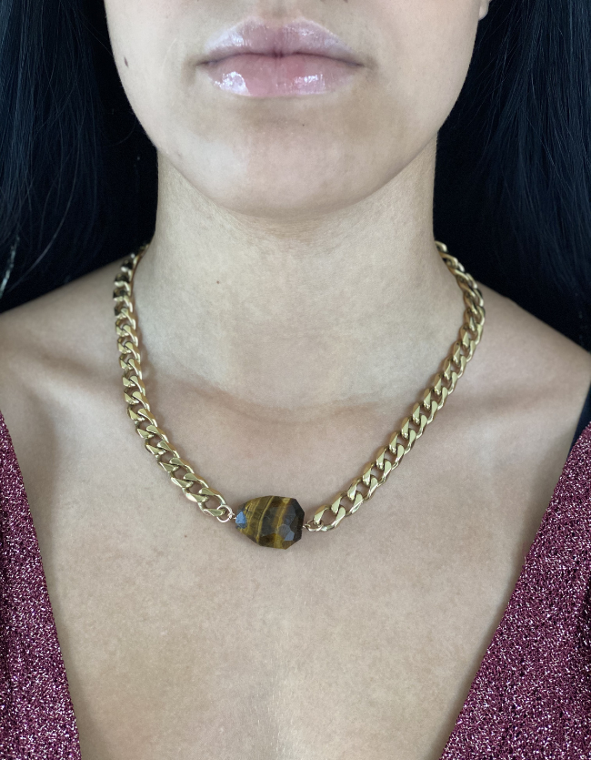 Tigers Eye Yellow Gold Necklace