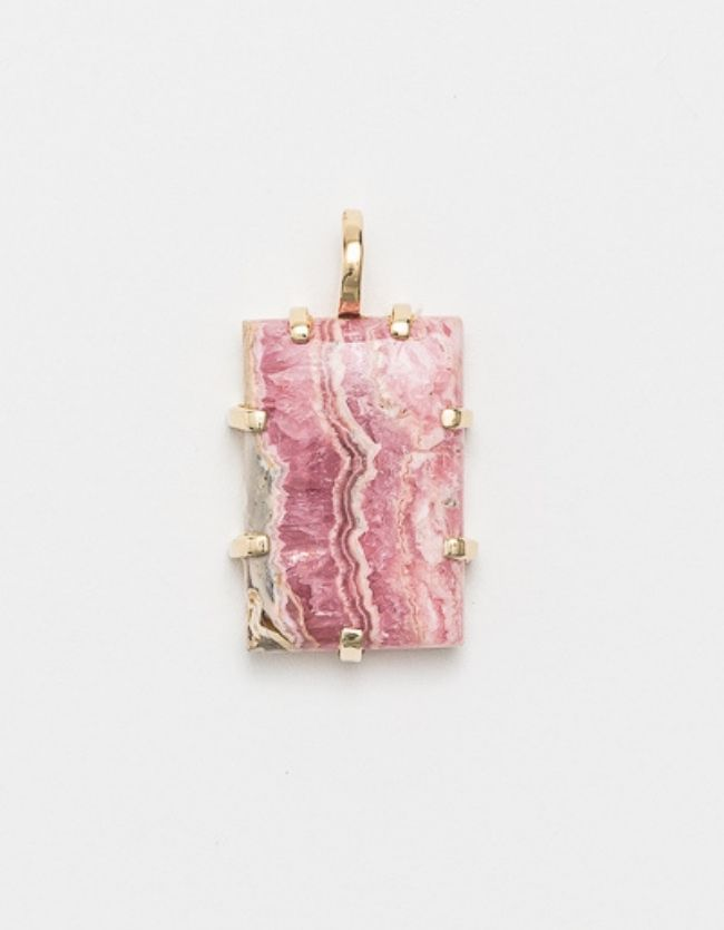 Rhodochrosite Yellow Gold  Amulet