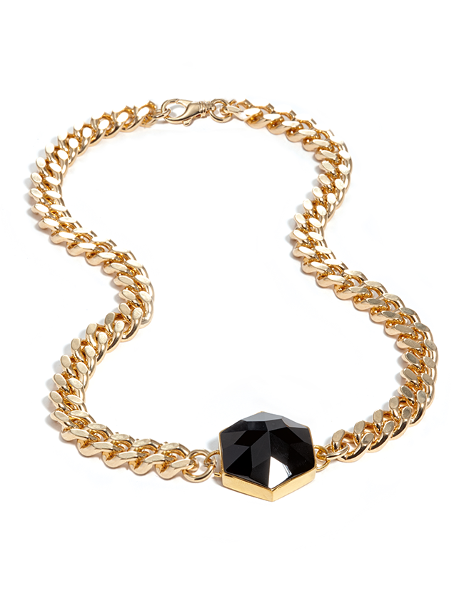 Onyx Gold Hexagon Necklace