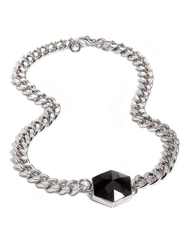 Onyx Silver Hexagon Necklace