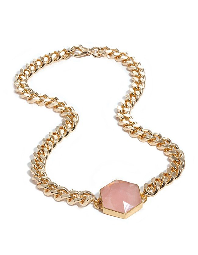 gold necklace, rose quartz, rose quartz necklace, gold, silver, silver necklace, hexagon jewellery, jewellery, nz design, chunky jewellery