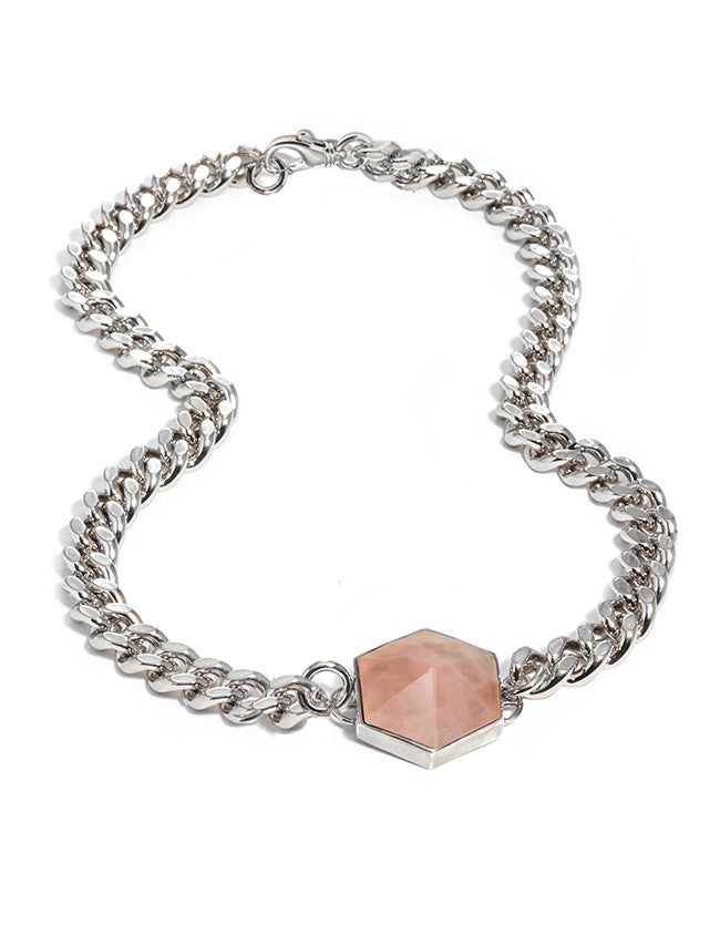 Rose Quartz Silver Hexagon Necklace