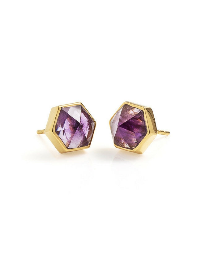 amethyst, gold, ring, gold earring, amethyst earrings, hexagon earring, studs, amethyst studs, cathy pope jewellery