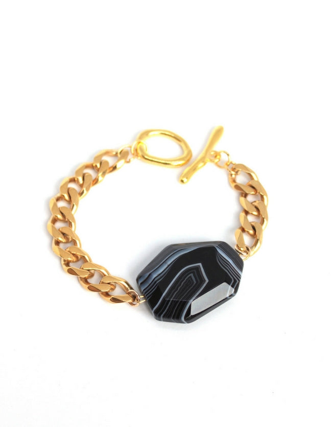Black Agate Bracelet Yellow Gold