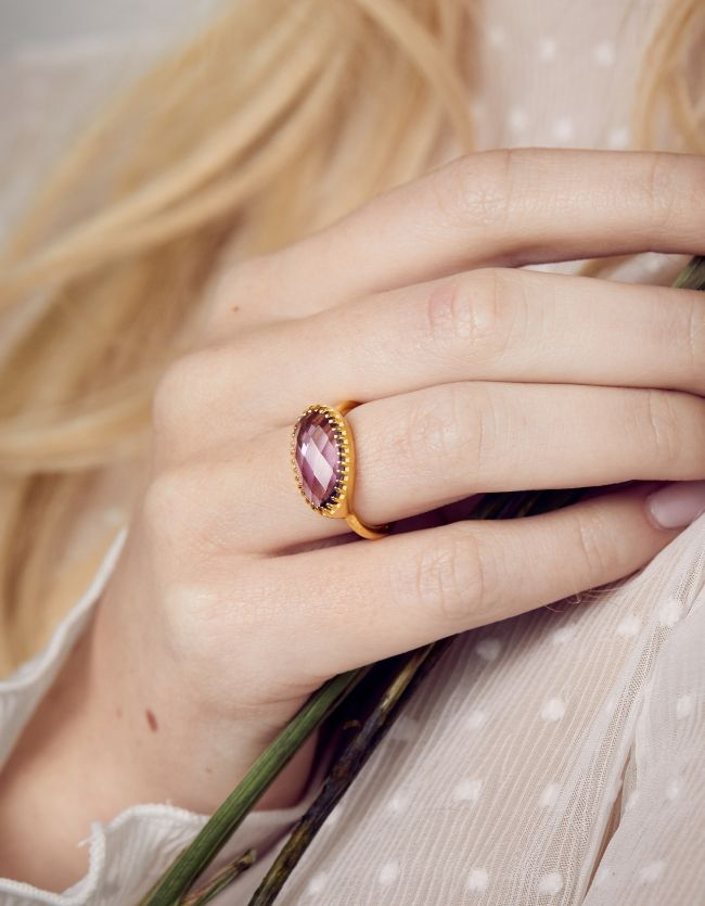 Amethyst Gold Curio Ring