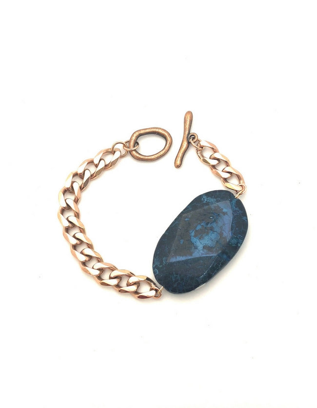 Dark Blue Agate Bracelet Rose Gold
