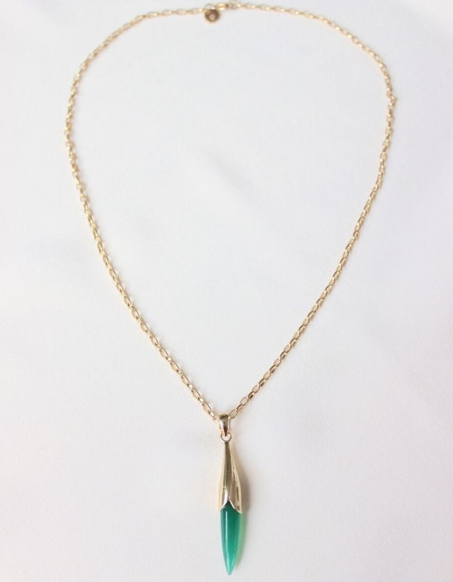 Tulip Green Onyx Gold  Necklace