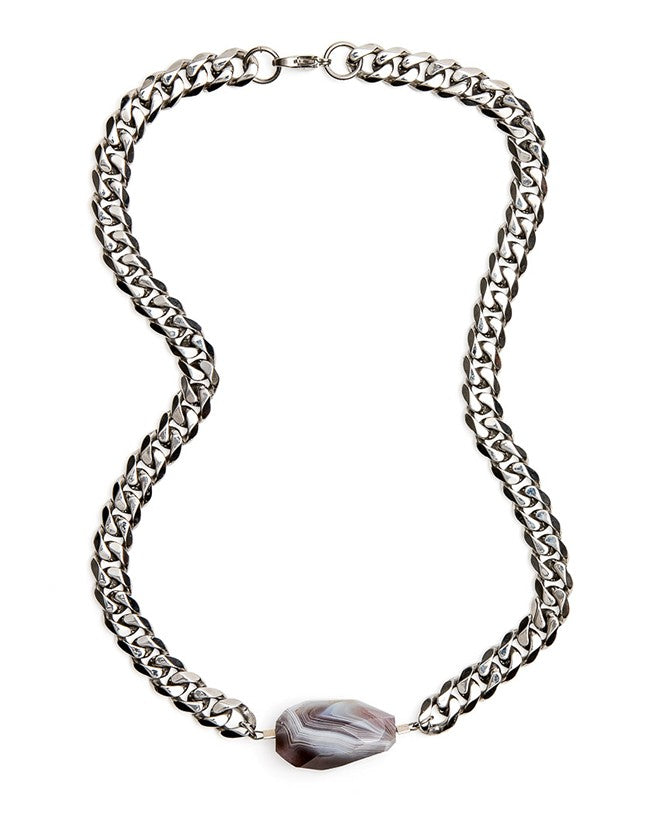 Botswana Agate Silver Necklace