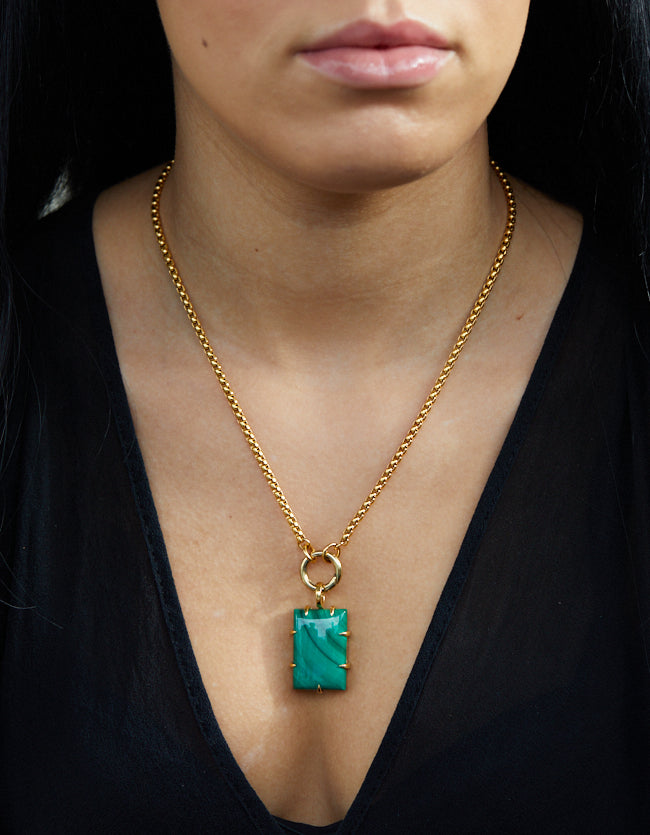 Malachite Gold  Amulet