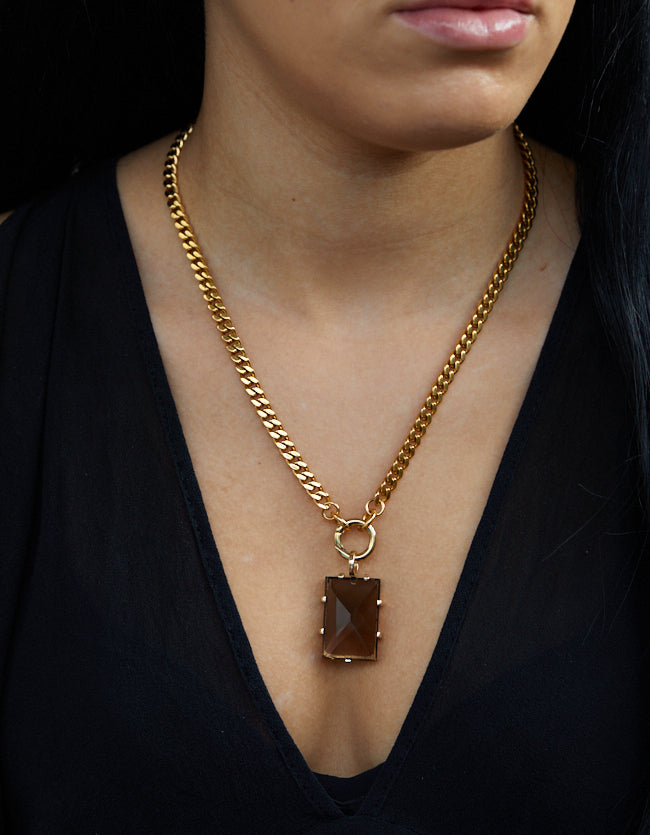Smokey Quartz Gold Amulet