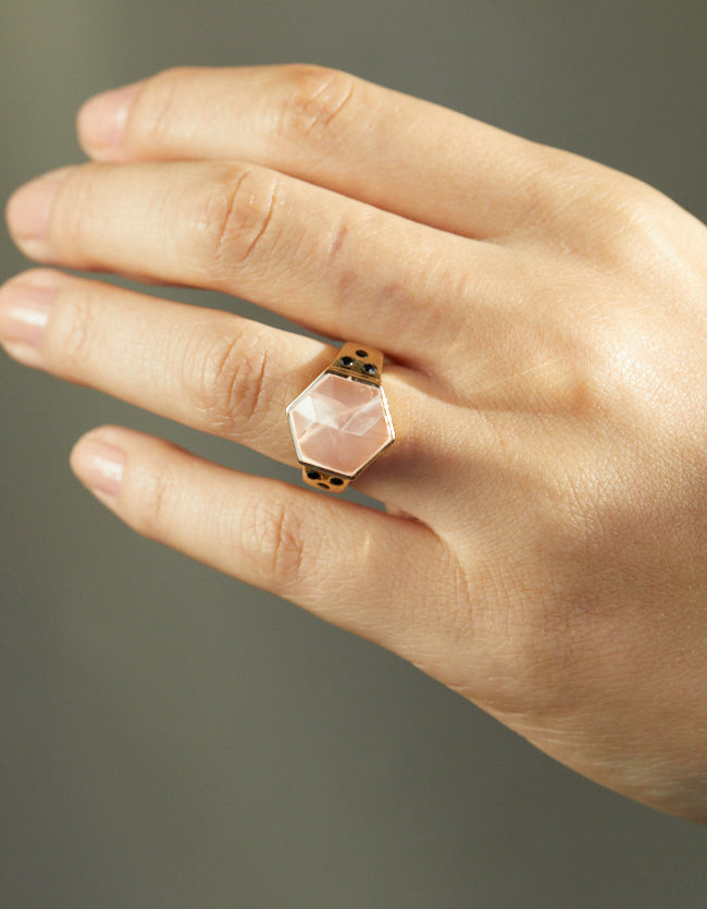 Rose Quartz Spinel Gold  Ring