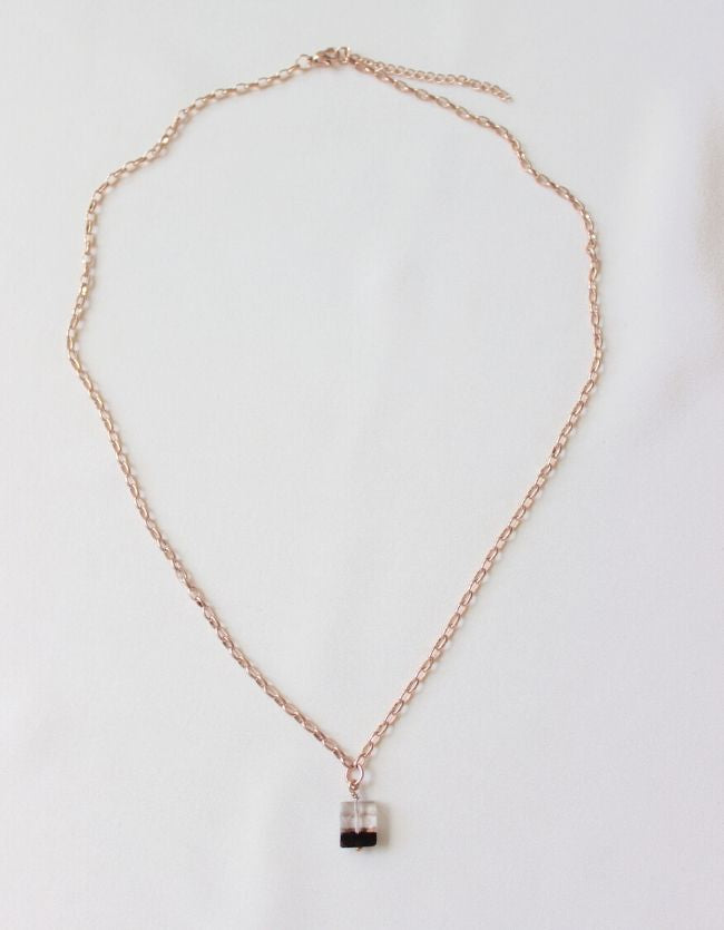 Two-toned Quartz Rose Gold Necklace