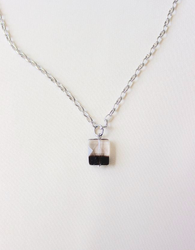 Two-toned Quartz Silver Necklace
