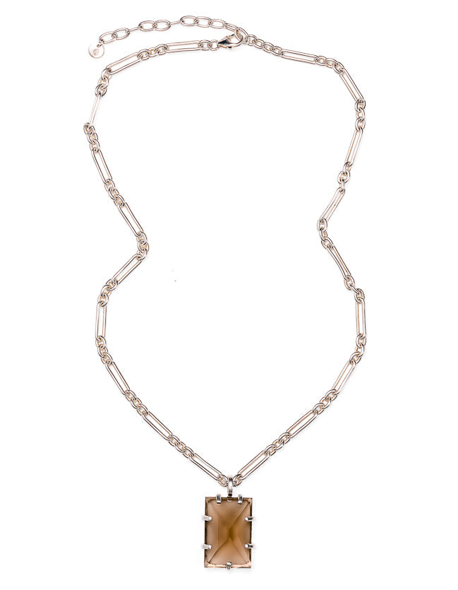 Smokey Quartz Silver Arezzo Necklace
