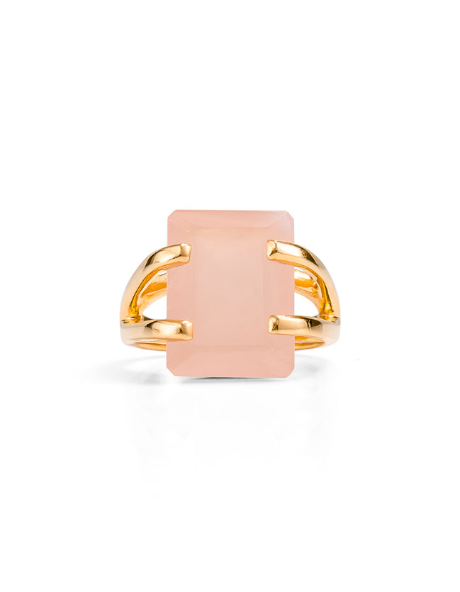 Amalfi Rose Quartz Gold Ring