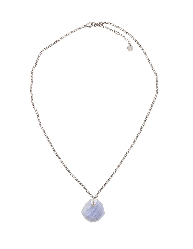 Blue Lace Slim Silver Pendant | Exotic Gemstone Jewellery | Cathy Pope NZ