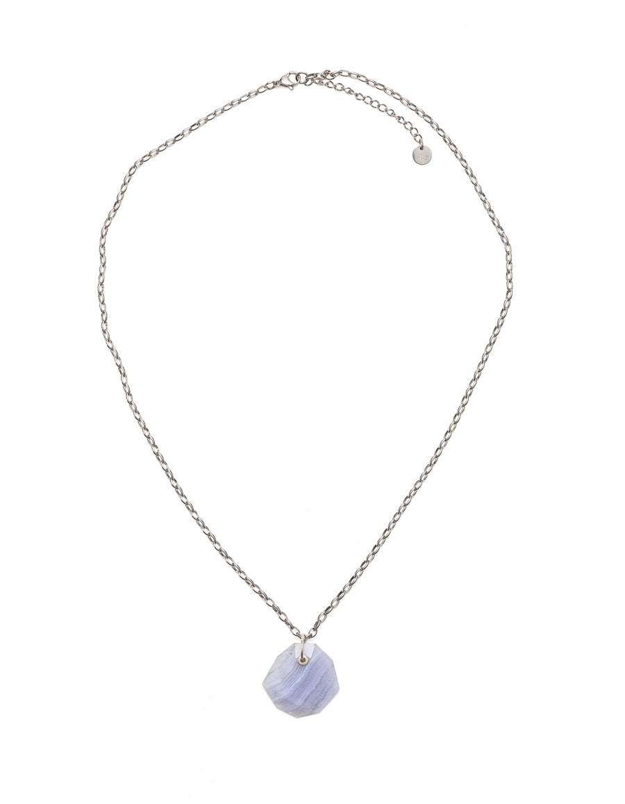 Blue Lace Slim Silver Pendant | Exotic Gemstone Jewellery | Cathy Pope