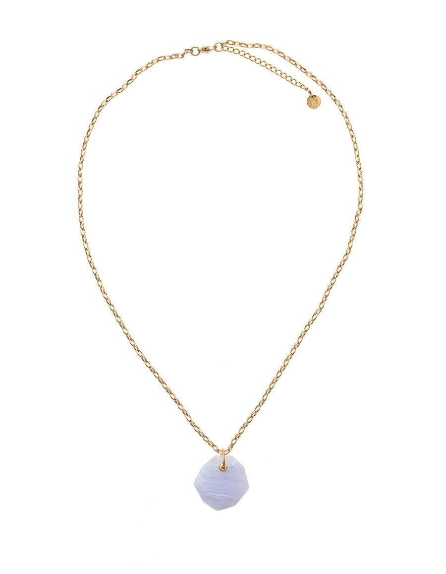 Blue Lace Slim Gold Pendant | Exotic Gemstone Jewellery | Cathy Pope NZ