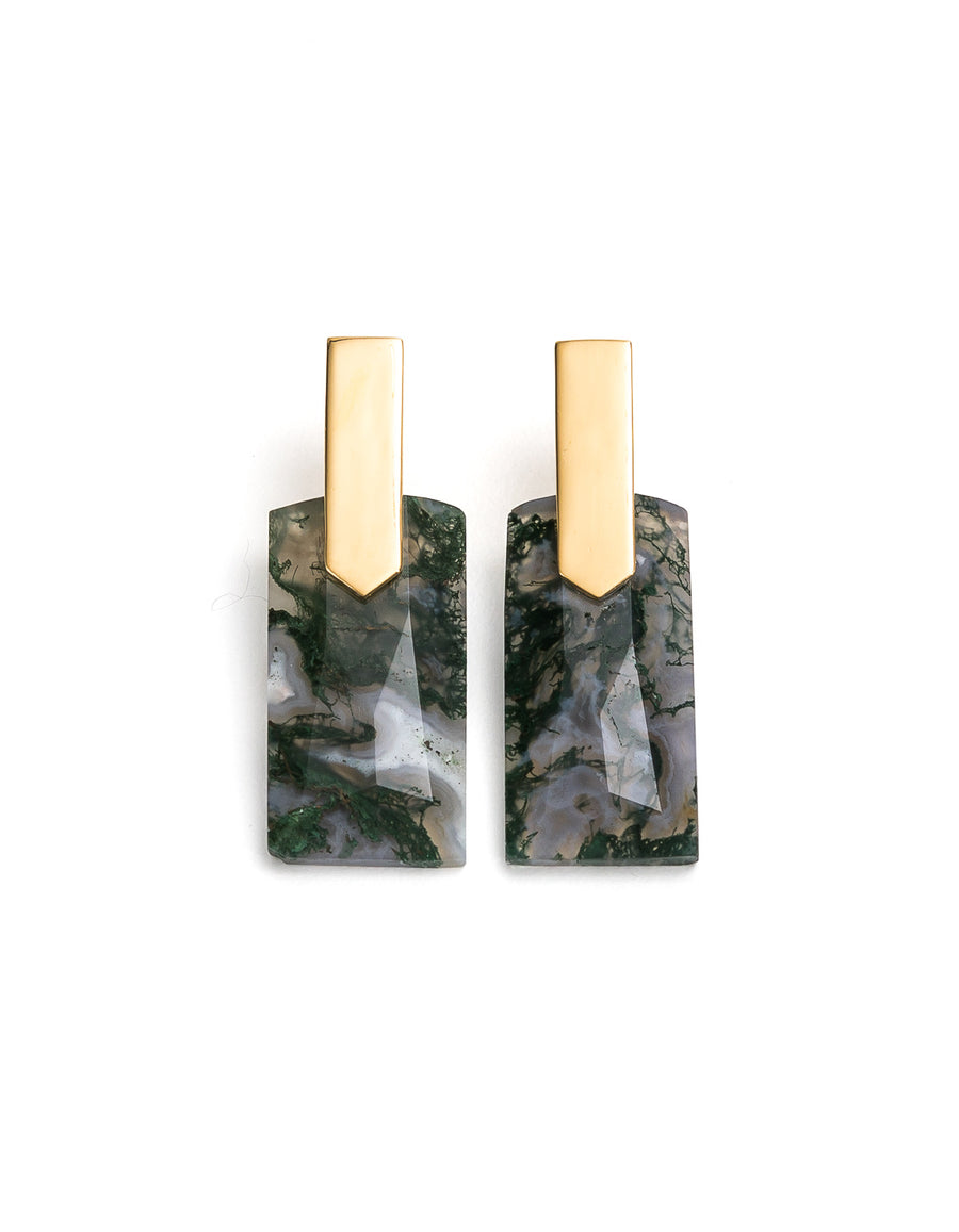 Moss Agate Gold Long Earrings | Exotic Gemstone Jewellery | Cathy Pope NZ