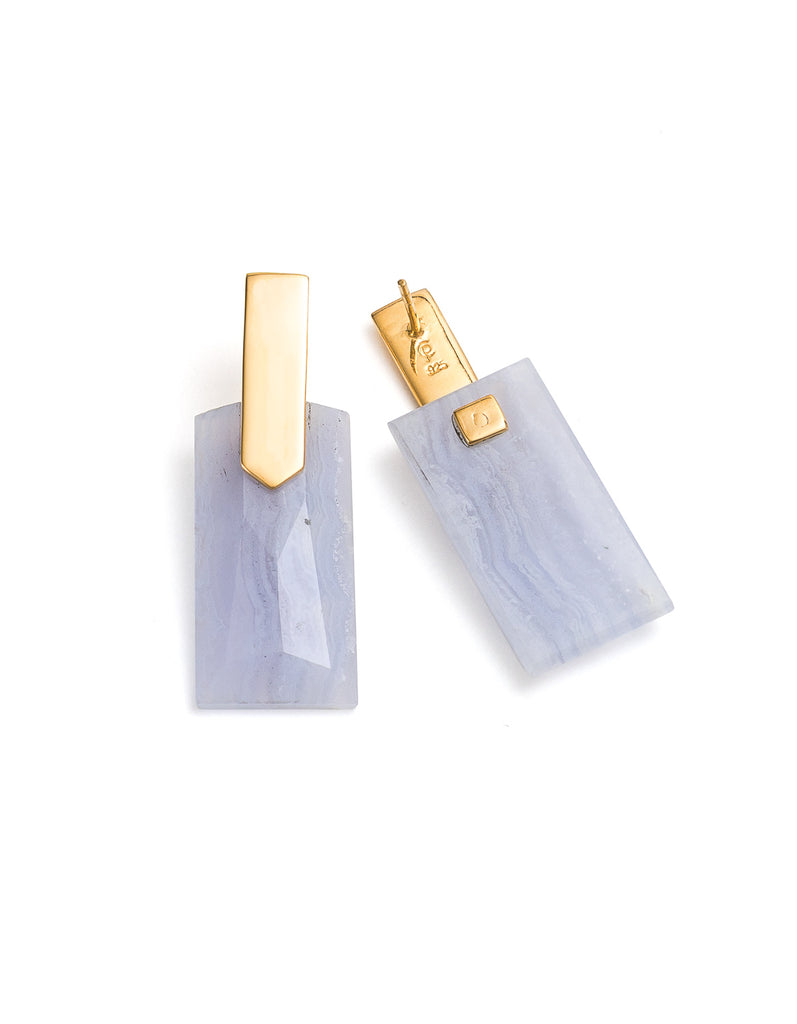Blue Lace Agate Gold Long Earrings | Exotic Gemstone Jewellery | Cathy Pope