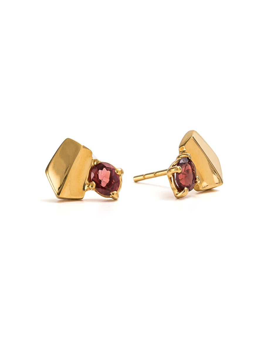 Garnet Yellow Gold Studs | Exotic Gemstone Jewellery | Cathy Pope NZ