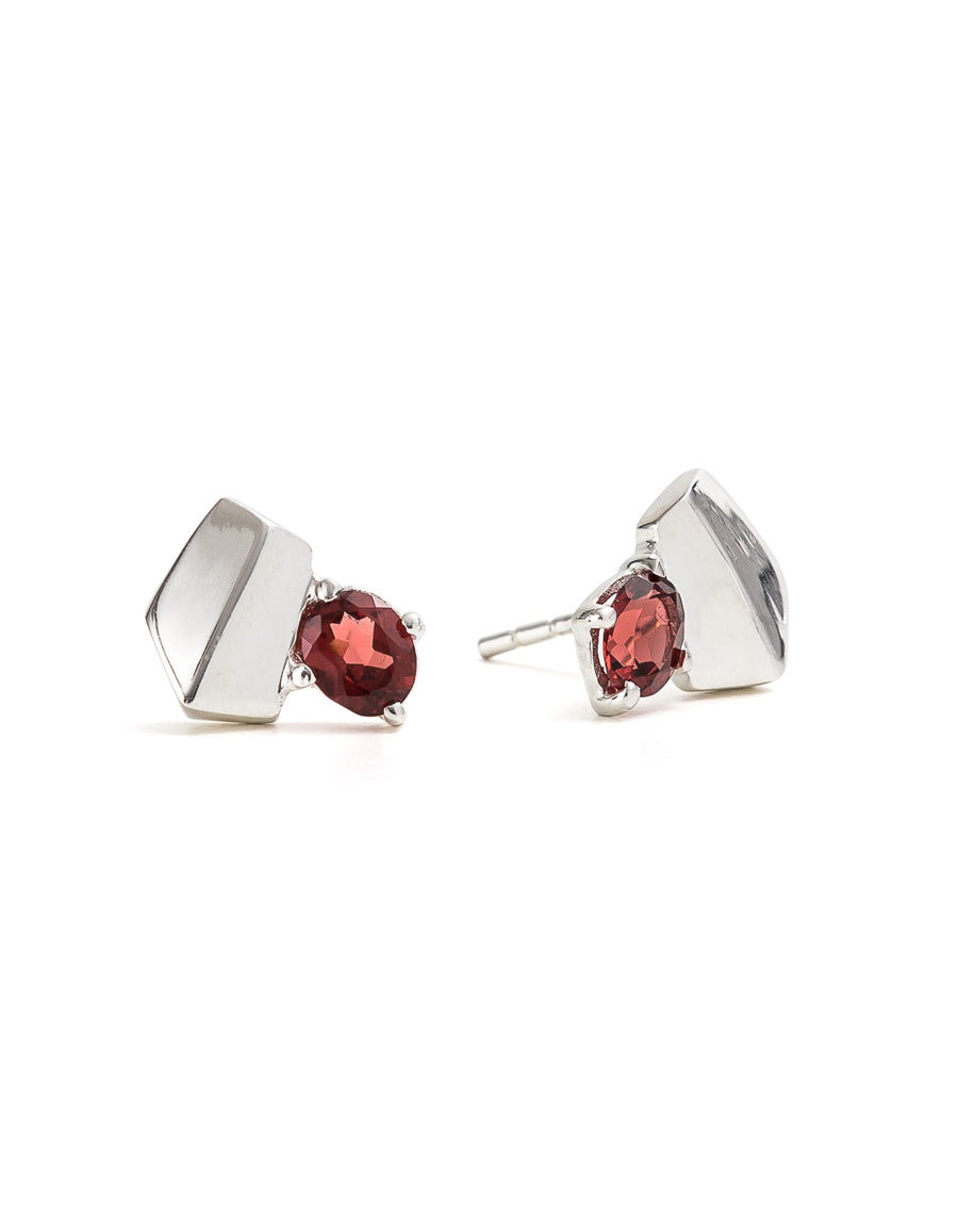 Garnet Silver Studs | Exotic Gemstone Jewellery | Cathy Pope NZ