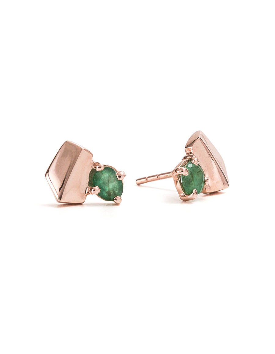 Emerald Yellow Gold Studs | Exotic Gemstone Jewellery | Cathy Pope NZ