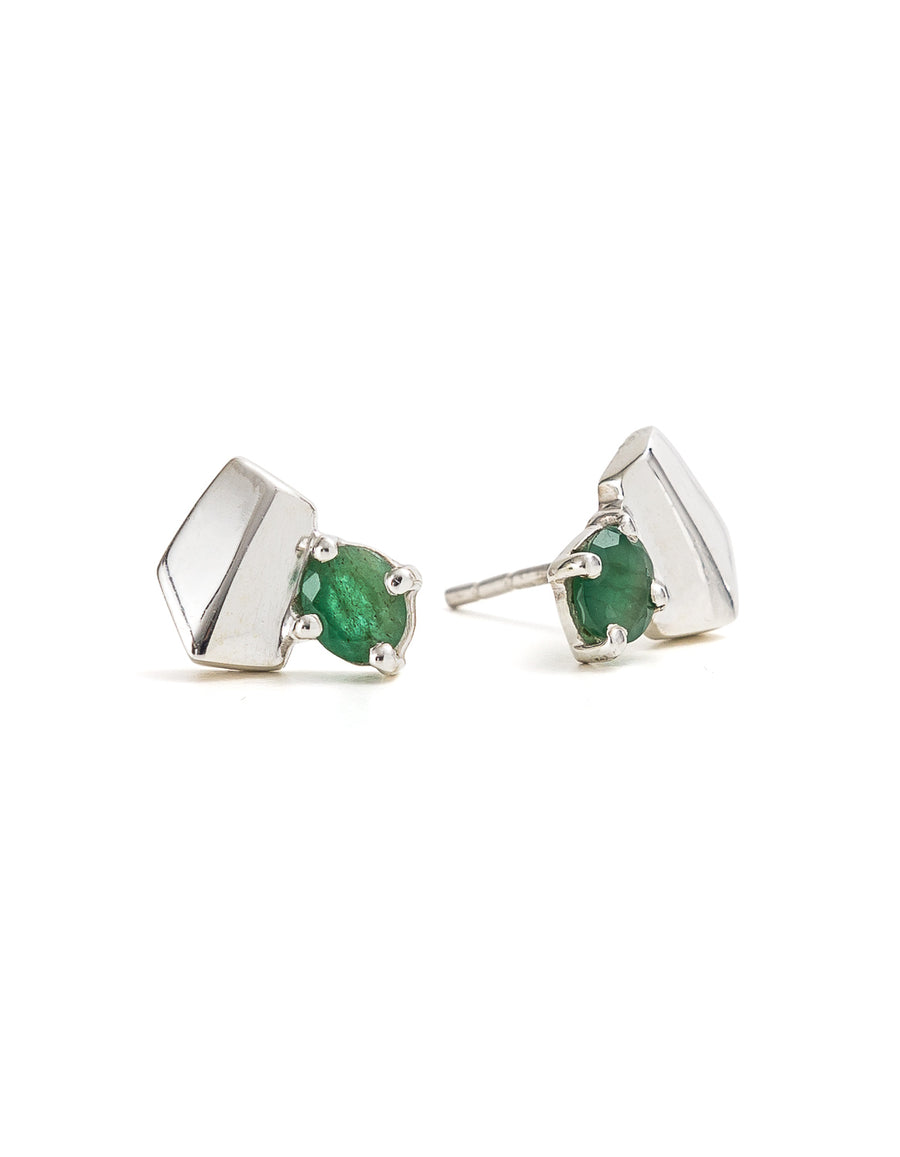Emerald Silver Studs | Exotic Gemstone Jewellery | Cathy Pope NZ