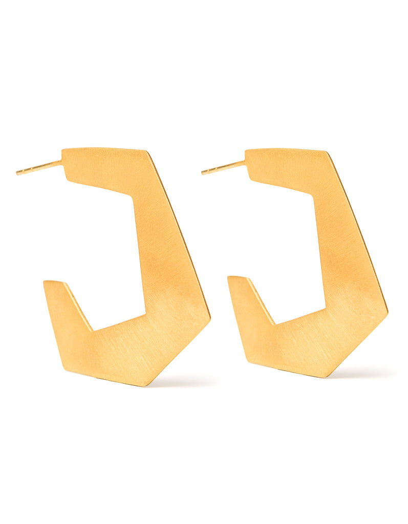 Hoops Brushed Yellow Gold | Premium Gemstone Jewellery | Cathy Pope