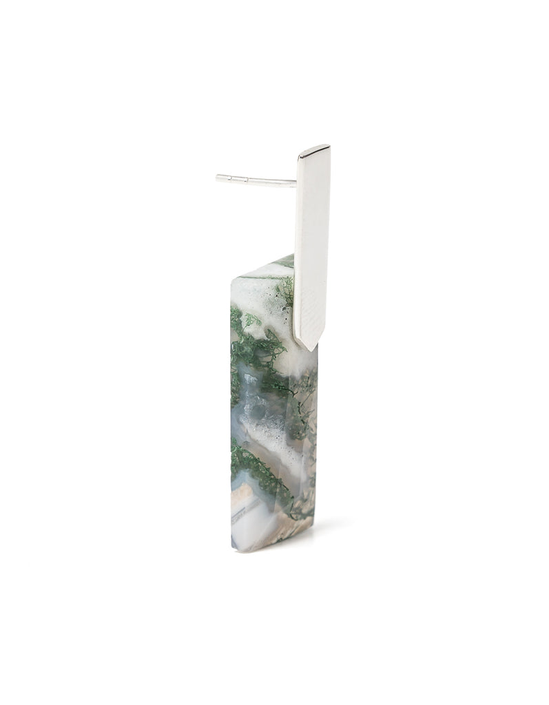 Moss Agate Silver Long Earrings | Exotic Gemstone Jewellery | Cathy Pope NZ