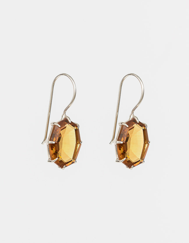 Saffron Drop Silver Earrings