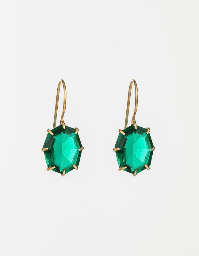 Veridian Drop Gold Earrings