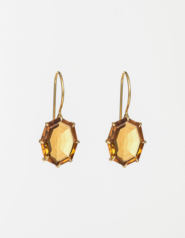 Saffron Drop Gold Earrings