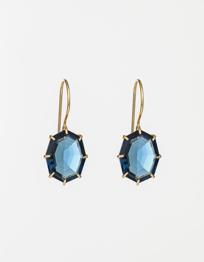 Indigo Drop Gold Earrings