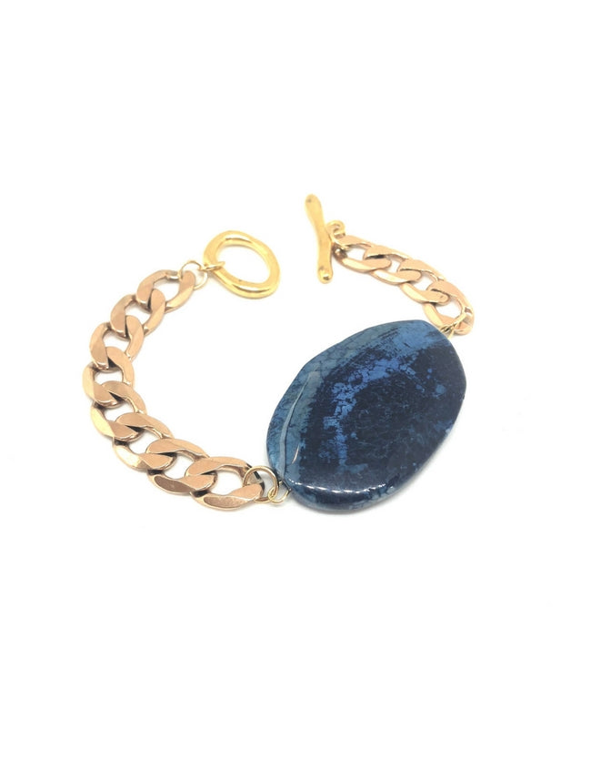 Dark Blue Agate Bracelet Yellow Gold