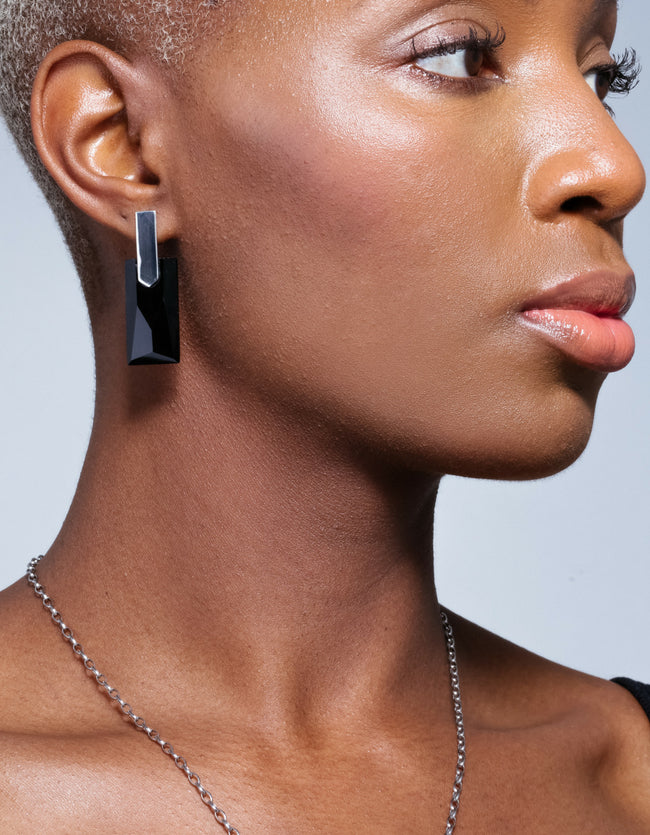 Onyx Silver Long Earrings | Exotic Gemstone Earrings | Cathy Pope NZ