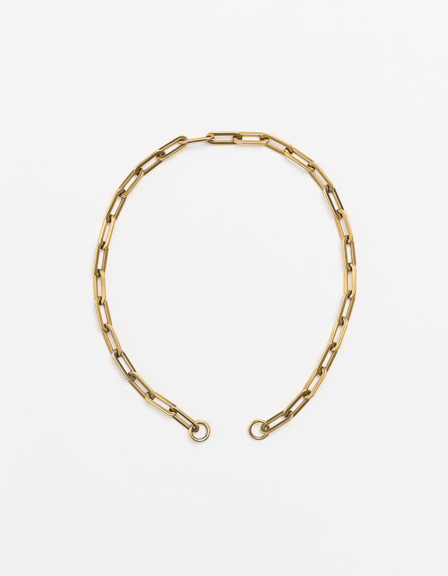 Yellow Gold Long Loop Necklace Long/Short Plain (no clasp)