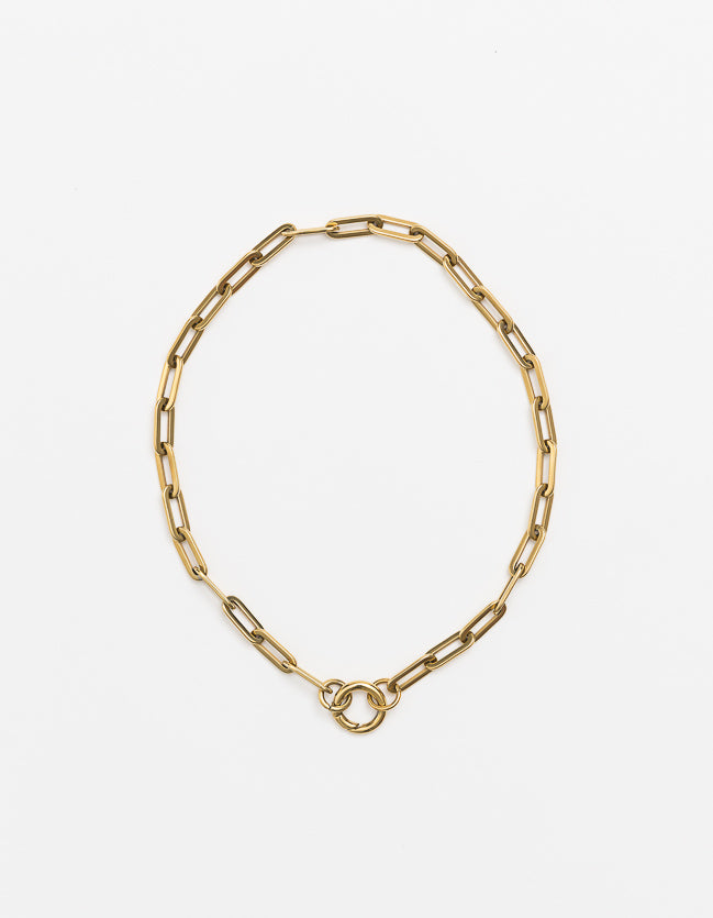 Yellow Gold Long Loop Necklace Long/Short
