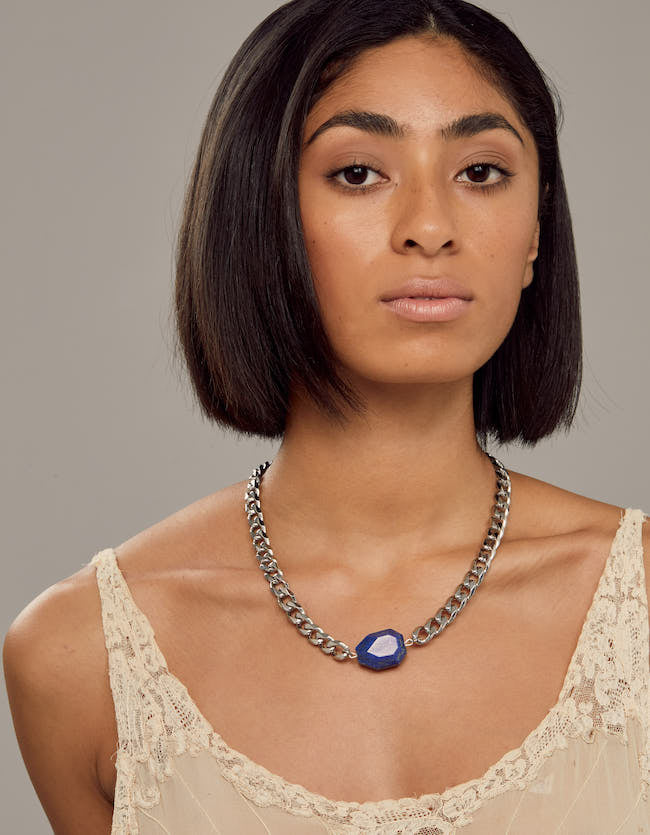 lapis, lapis necklace, chunky choker, choker, silver lapis, silver necklace