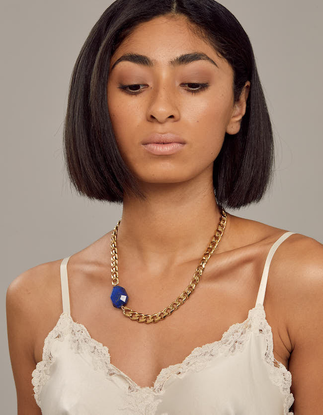 lapis, lapis necklace, chunky choker, choker, gold lapis, gold necklace