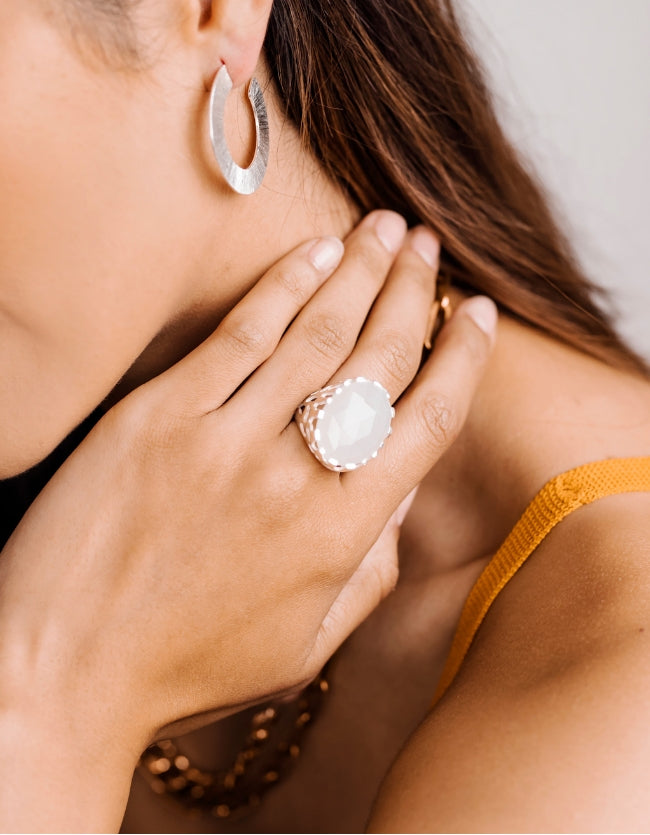 Moonstone Deco Silver Ring