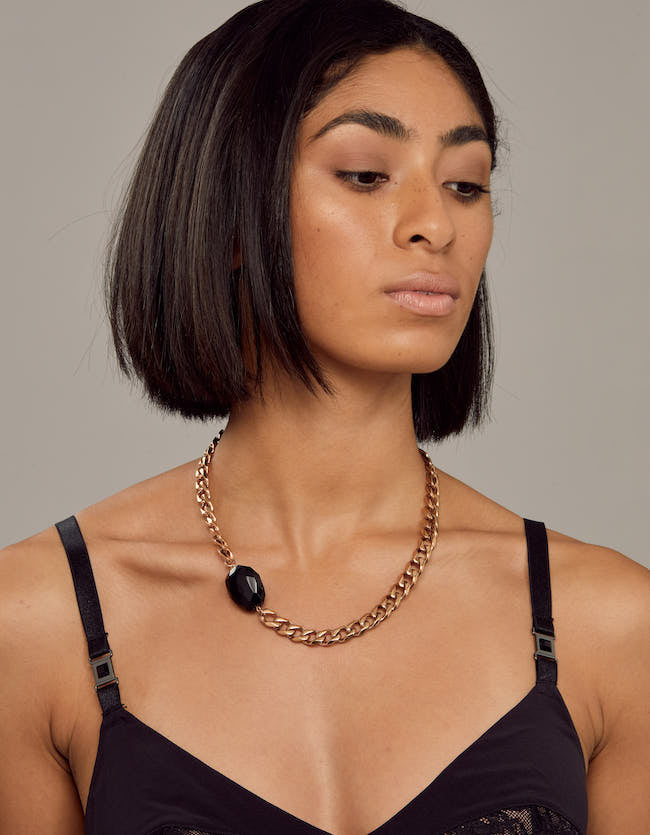 Onyx Rose Gold Necklace