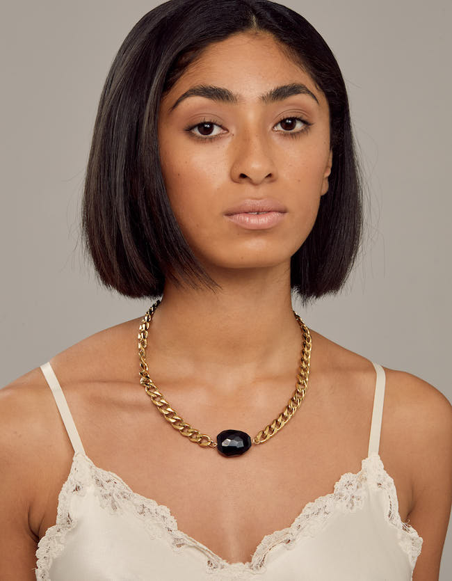 Onyx Yellow Gold Necklace